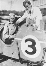 Doreen Evans in MG Q Type with brother K D Evans(?) Brooklands paddock 1935 BDRC 500